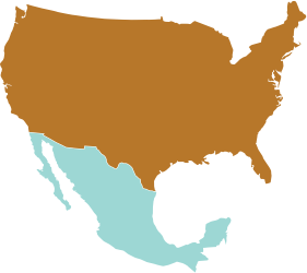 Map of United States and Mexico