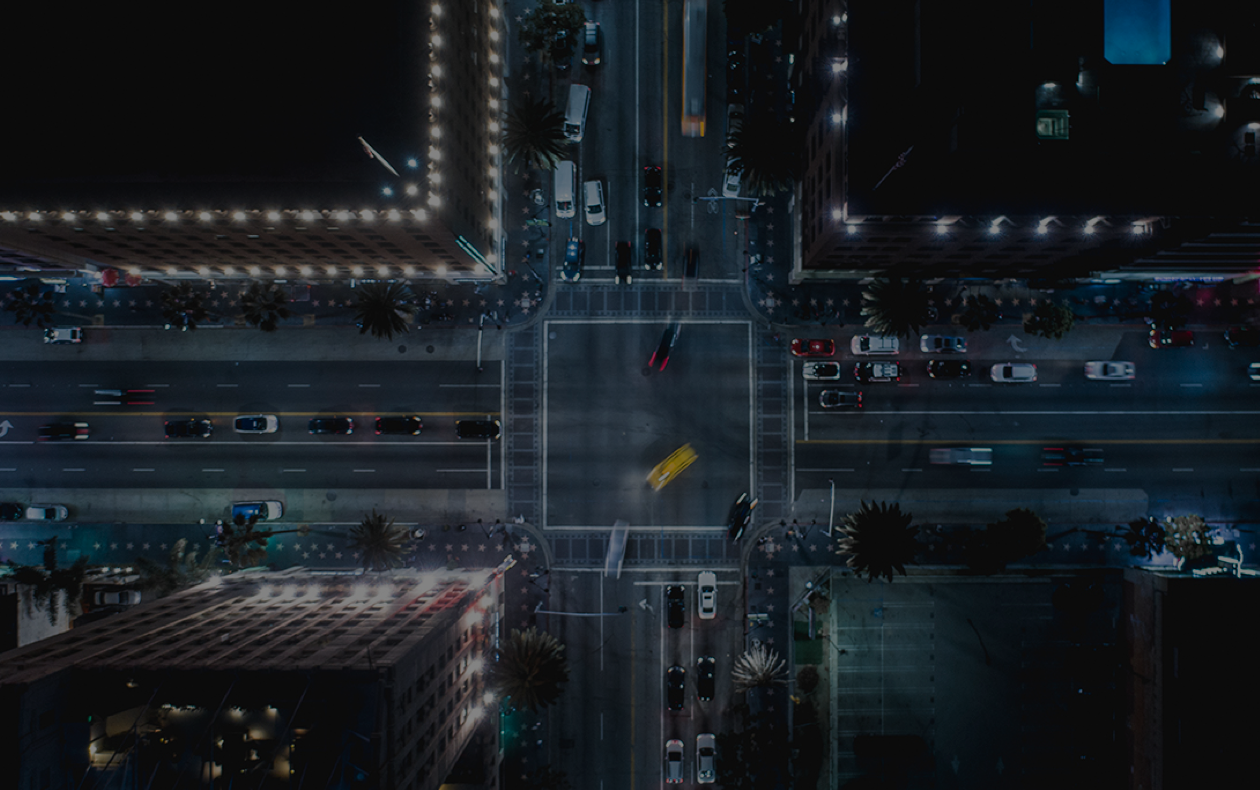 Arial view of city streets at night