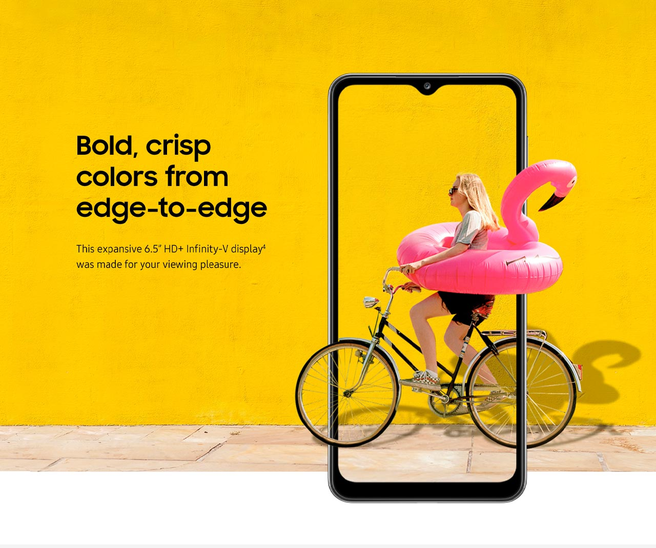 """Colores vivos, intensos de borde a borde. This expansive 6.5"""" HD+ Infinity-V display⁴ was made for your viewing pleasure."""