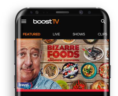 BoostTV main page showing on a cell phone