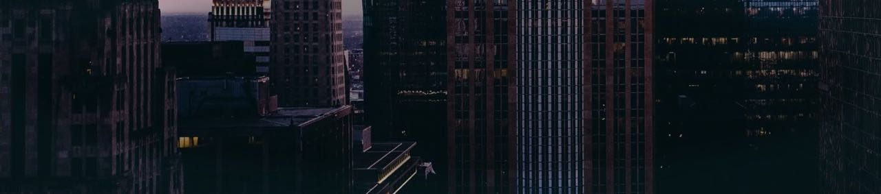Aerial shot of skyscrapers at night